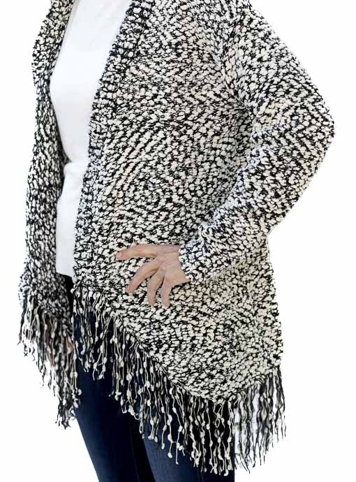 Ivory Black Textured Knit Cardigan With Fringe