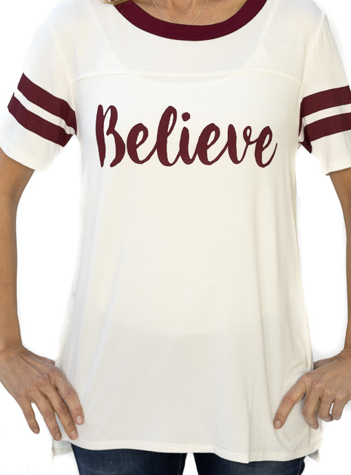 Ivory Burgundy Believe Graphic T Shirt