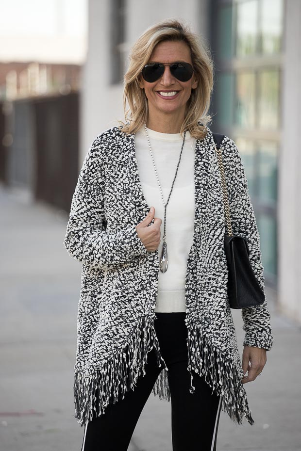 womens bocle cardigan in ivory and black