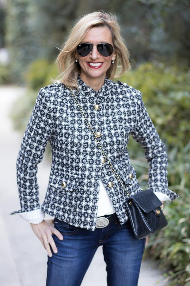 Paris Black and White Womens classic Boucle Jacket