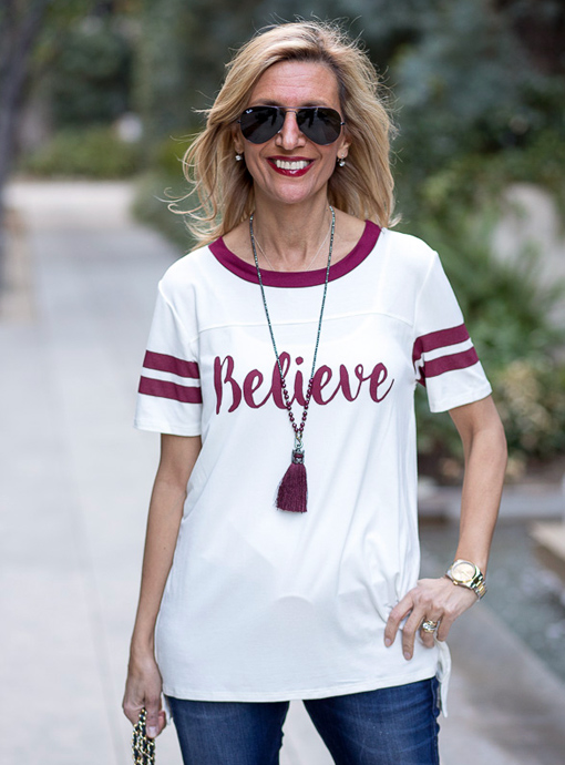 believe T shirt Ivory with burgandy stripes