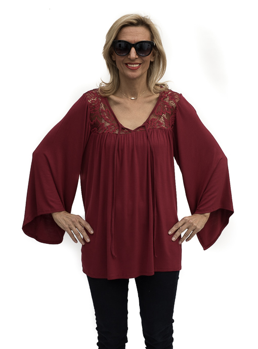 burgandy bell Sleeve and lace trim blouse