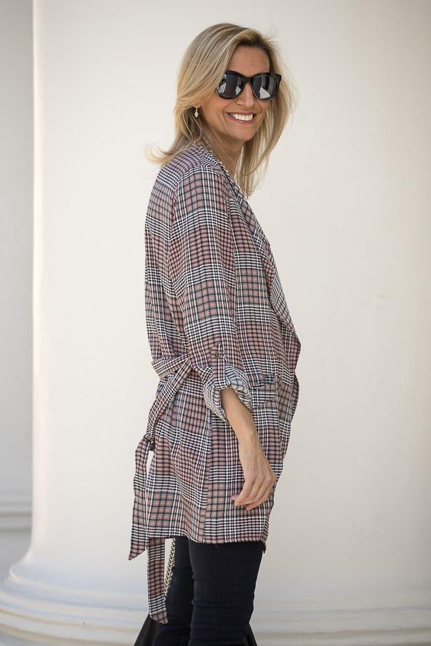 Pink And Black Plaid Duster side view