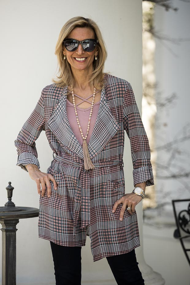 Pink And Black Plaid Duster belted