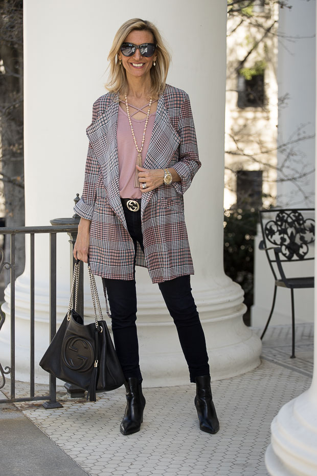 Pink And Black Plaid Duster