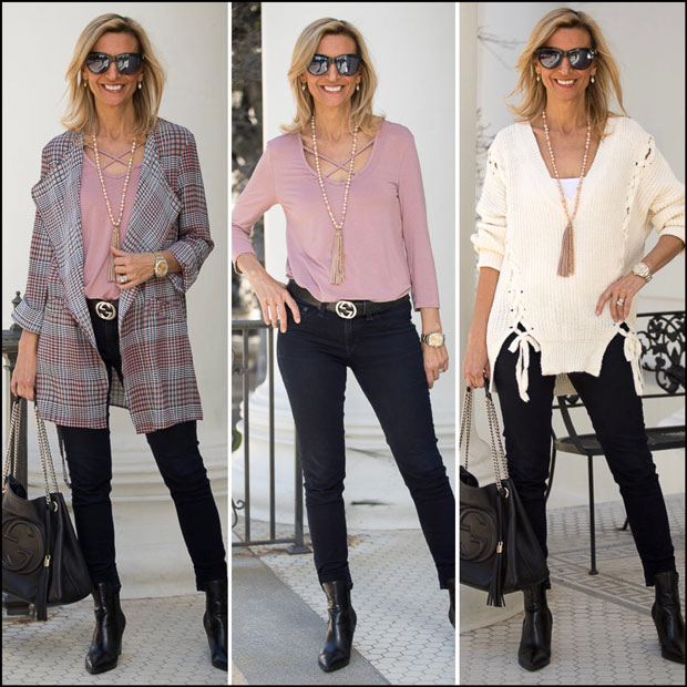 Pink And Black Plaid Unconstructed Duster