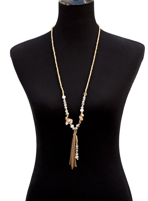 Adjustable Bead And Stone Necklace With Faux Leather Fringe