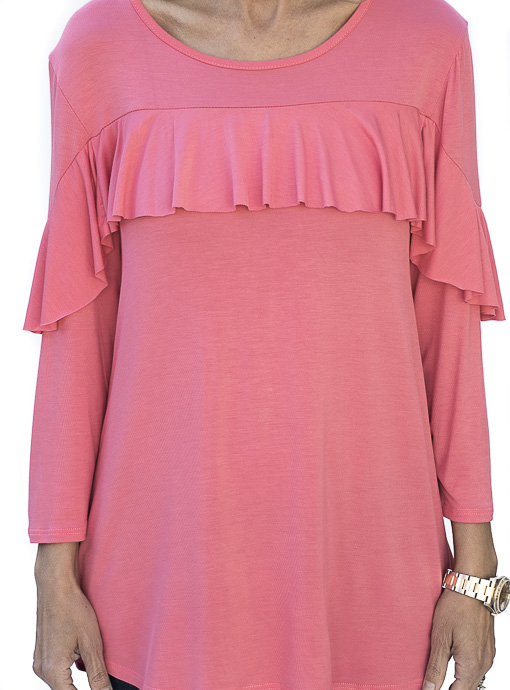 Coral Jersey Ruffle Top