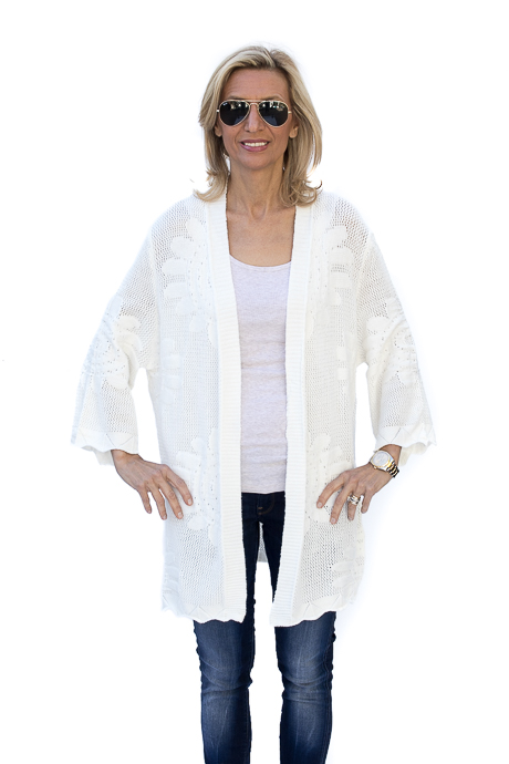 Ivory Knit Cardigan With Floral Pattern