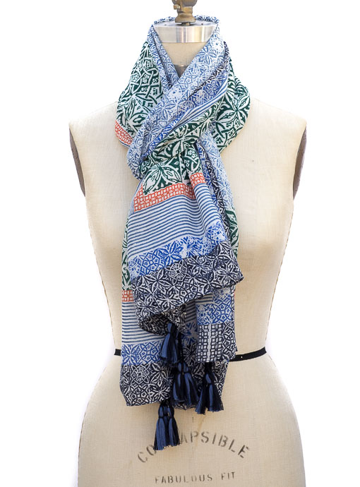 Multi Color Print Scarf Shawl With Tassels