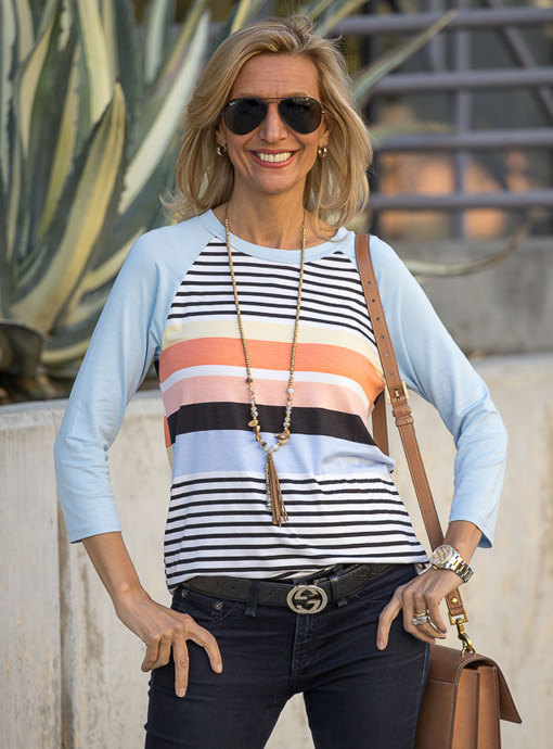 Multi Stripe blue and peach T Shirt With Three Quarter sleeves