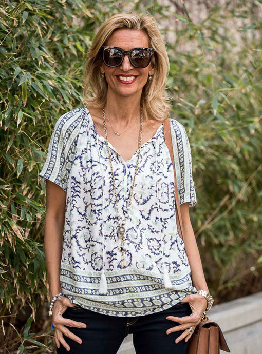 Ivory Navy Blue Border Print Peasant Blouse