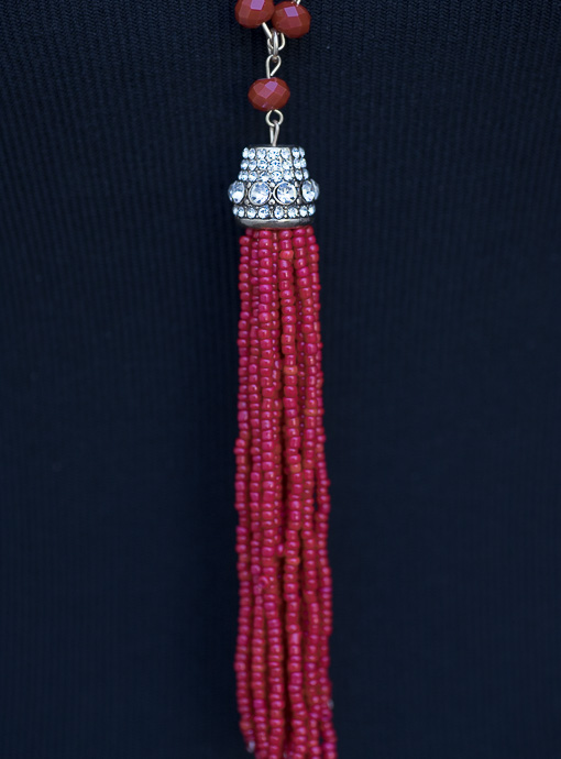 Red Bead Necklace With Bead Fringe