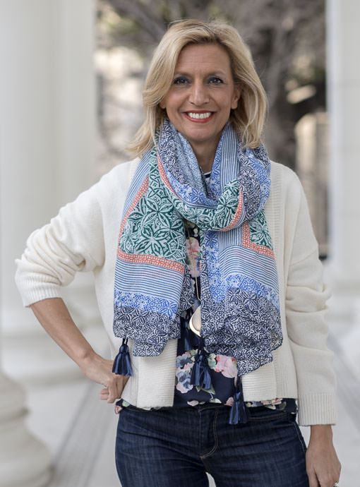Multi color print scarf shawl with tassles