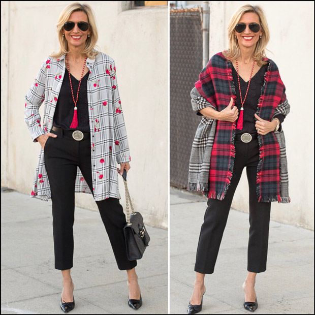 Styling-a-Black-White-Plaid-Long-Shirt-With-Red-Flowers for valentines
