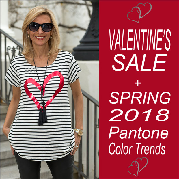 Valentines day sale and spring 2018 pantone color trends