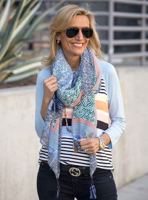multi colored scarf shawl with tassels
