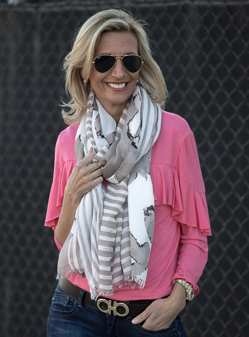 taupe white black floral stripe scarf