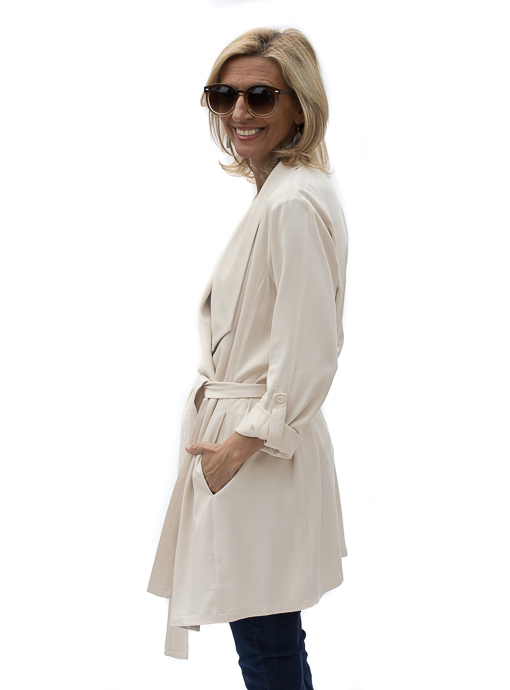 Butter Cascading Collar Belted Duster Coat
