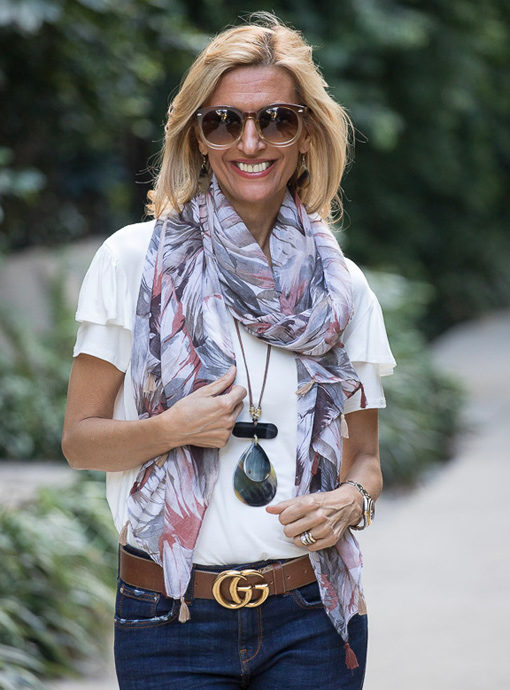 Earth tone abstract print scarf with tassels