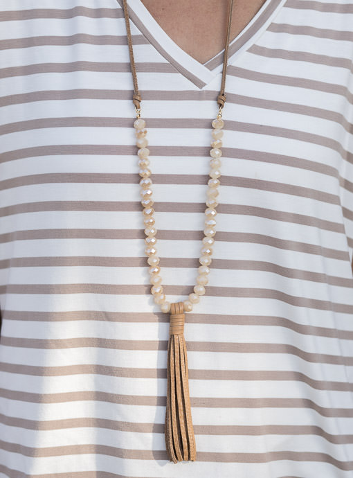 Adjustable Faux Leather And Bead Necklace With Fringe