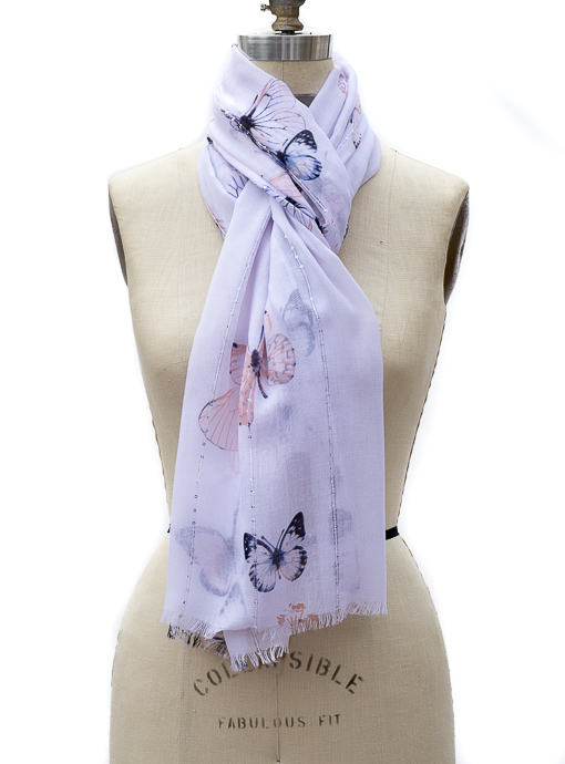 White Butterfly Print Scarf Shawl With Small Sequins