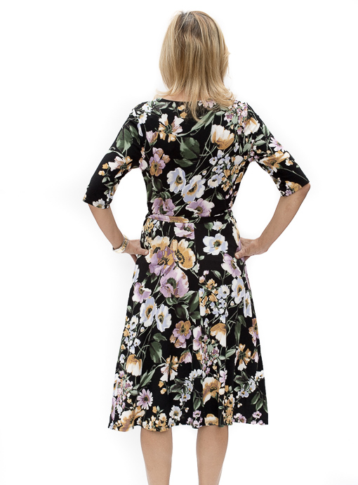 Black Jersey Floral Print Faux Wrap Dress