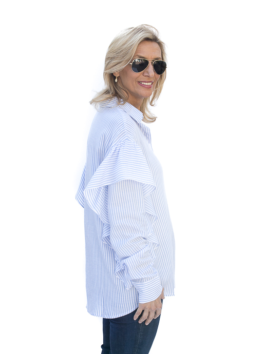 Blue White Stripe Ruffle Shirt