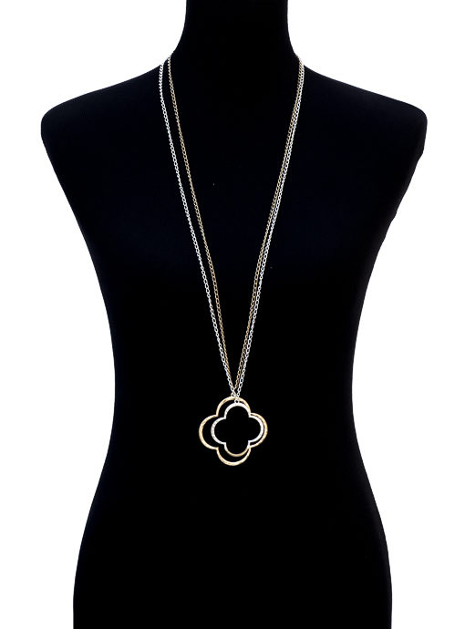 Gold and silver hammertone clover necklace set