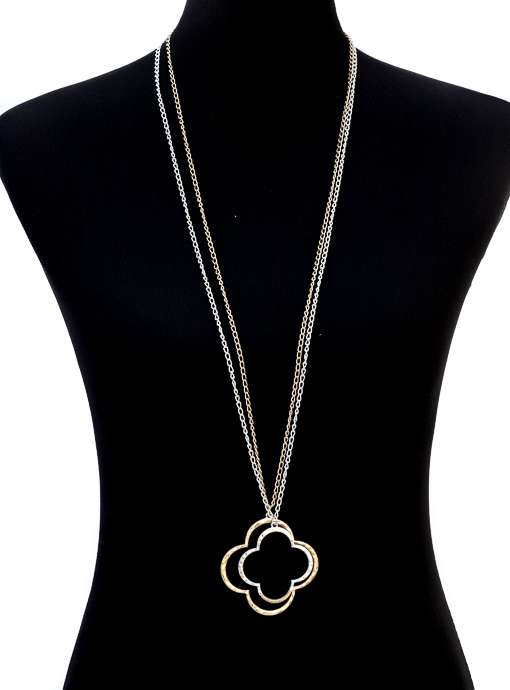 Gold And Silver Chain Clover Necklace Set