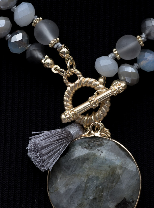 Gray Double Strand Necklace With Pendant Tassel And Fringe