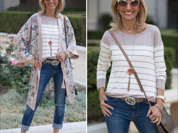 mixing patterns florals and stripes for a casual weekend look