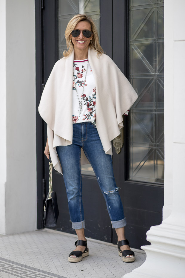 Our Best Selling Cape Vests Styled For Spring in Cream