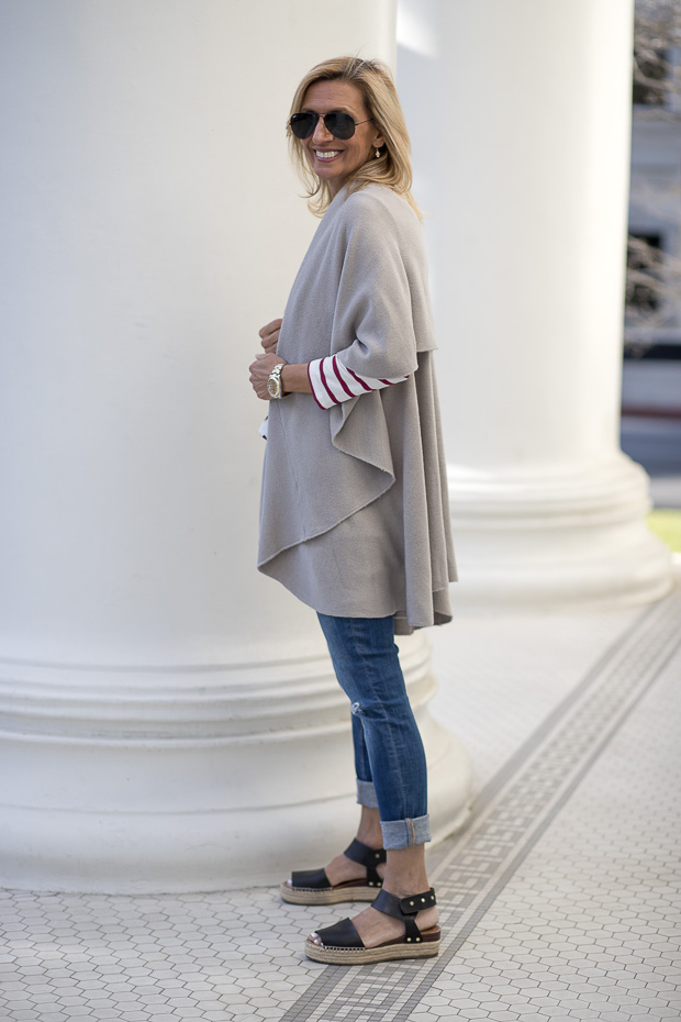 Our Best Selling Cape Vests Styled For Spring in Gray
