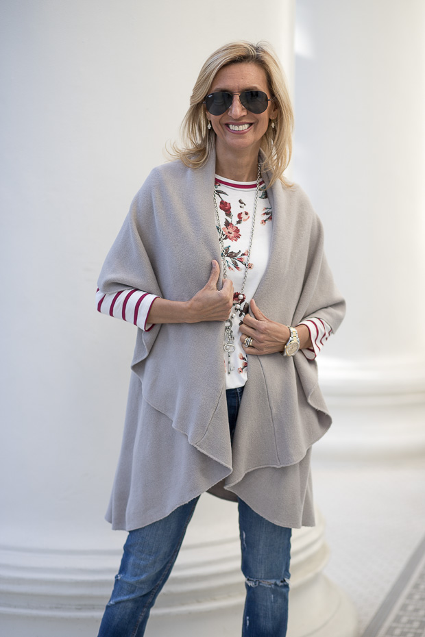 Our Best Selling Cape Vests Styled For Spring inGray