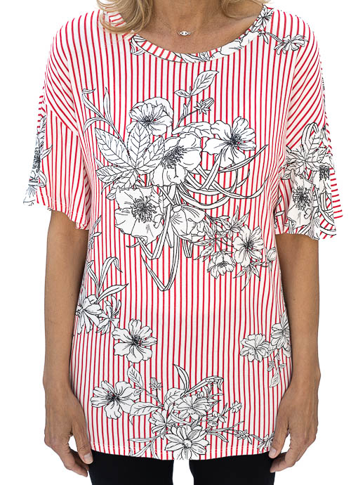 Red White Stripe Floral Print Jersey Top