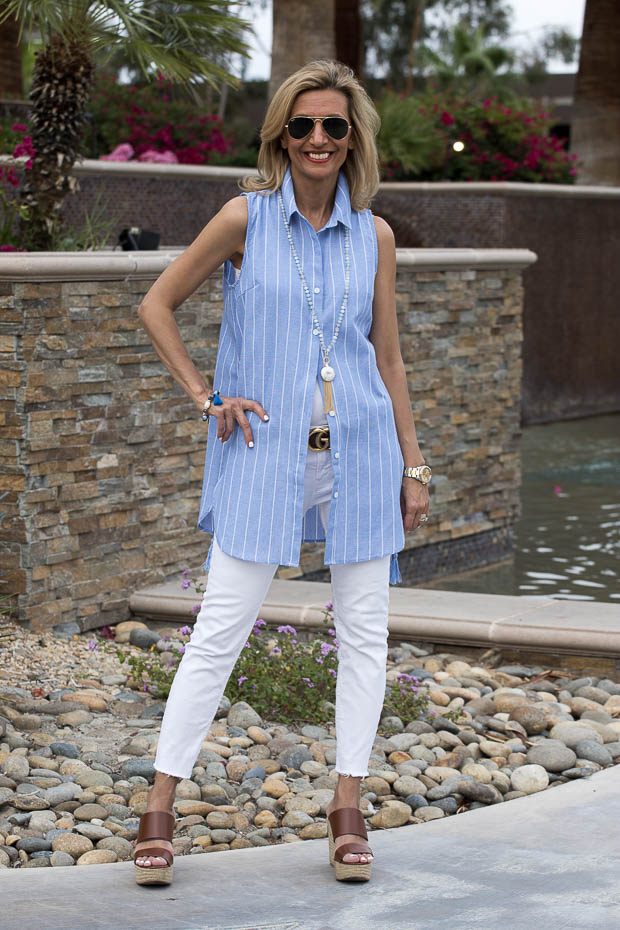 Wearing Our Blue And White Stripe Shirts In Palm Springs