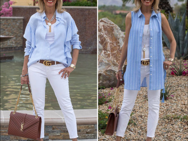 palm springs get away weekend with our new blue and white stripe womens shirts