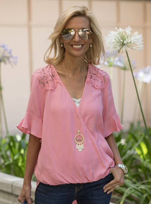 Pink Crossover Blouson Blouse With Lace