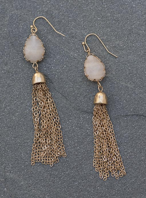 Blush Stone And Gold Tone Chain Fringe Earrings