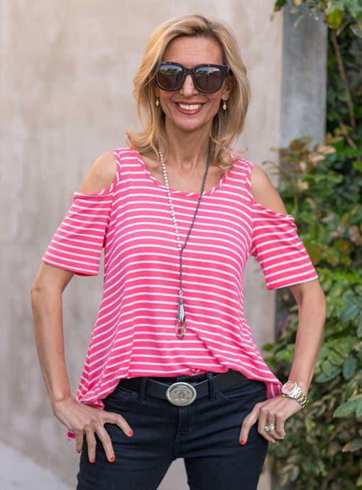 coral and white stripe cold shoulder top