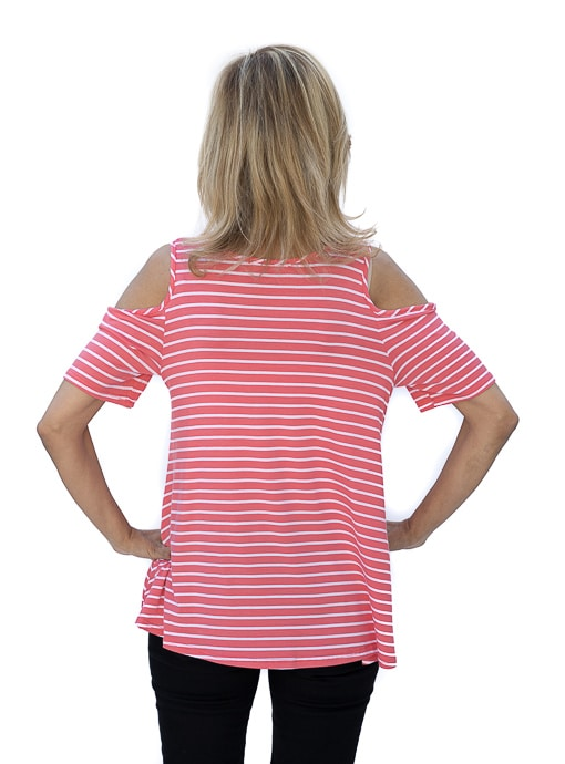 Coral White Stripe Cold Shoulder Jersey Top