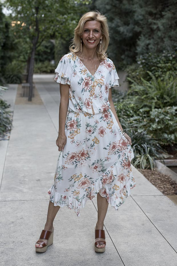 Ivory Floral Print Dress Styled With An Ivory Shrug