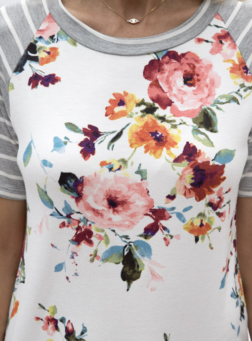 Ivory Gray Pink Short Sleeve Floral Stripe T Shirt