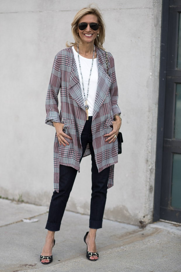 black and pink plaid duster with belt
