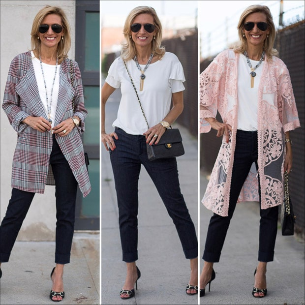 style feature pink and black plaid duster with belt and blush lace jacket