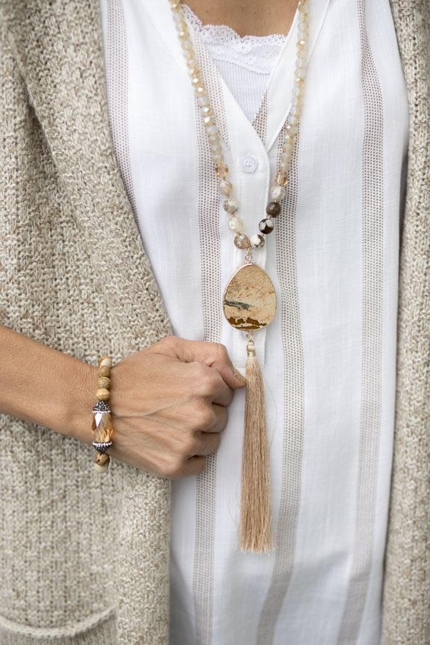 tan bead necklace and bracelets