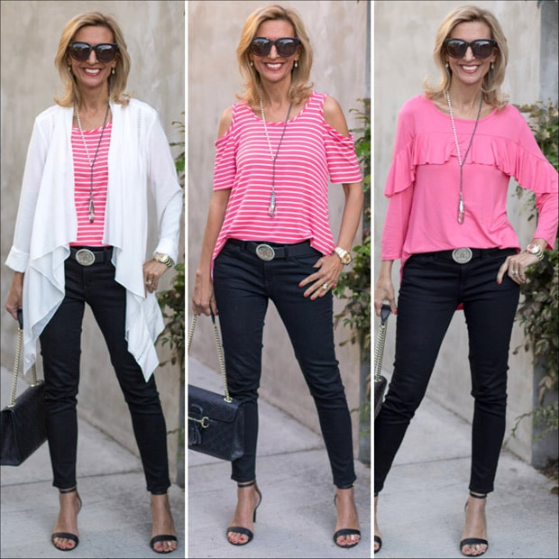 A Memorable Weekend White Jacket and Coral blouse style feature