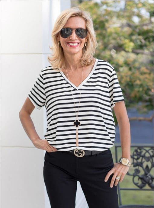 Black Ivory Stripe V Neck Tshirt
