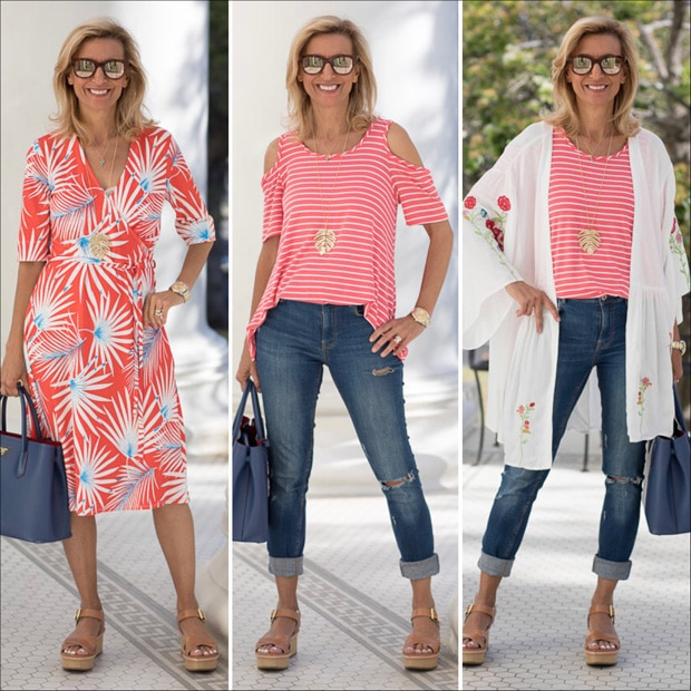 coral and white classic summer colors